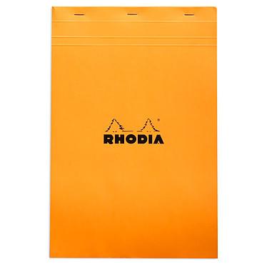 Rhodia Bloc N°19 Orange agrafé en-tête 21 x 31.8 cm petits carreaux 5 x 5 mm 80 pages