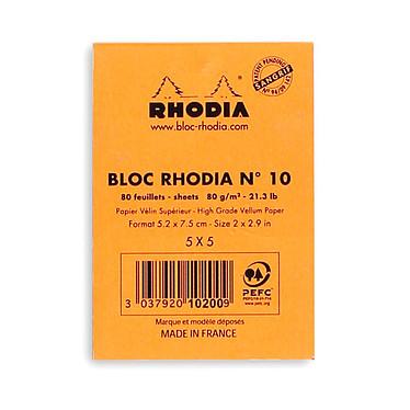 Avis Rhodia Bloc N°10 Orange agrafé en-tête 5.2 x 7.5 cm petits carreaux 5 x 5 mm 80 pages