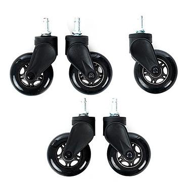 DXRacer Blade Wheels (noir) Lot de 5 roulettes en caoutchouc compatibles tapis et parquet pour siège DXRacer