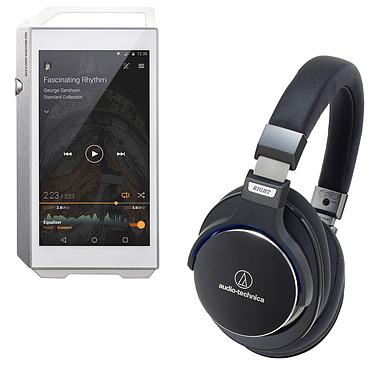 Pioneer XDP-100R Argent + Audio-Technica ATH-MSR7 Noir Lecteur High-Res audio HD et DAC 32 Go avec Bluetooth, WiFi et WiFi Direct + Casque circum-auriculaire fermé avec télécommande et micro
