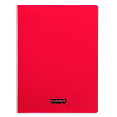 Calligraphe 8000 Polypro Cahier 96 pages 24 x 32 cm seyes grands carreaux Rouge
