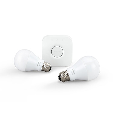 Philips Hue White Kit de démarrage E27 Ampoules intelligentes compatibles IOS / Android E27 - 9.5 Watts avec Hue Bridge