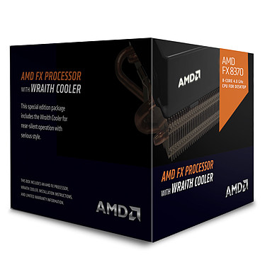 AMD FX 8370 Wraith Cooler Edition (4.0 GHz) Processeur 8-Core socket AM3+ Cache L3 8 Mo 0.032 micron TDP 125W + ventilateur silencieux hautes performances (version boîte - garantie constructeur 3 ans)