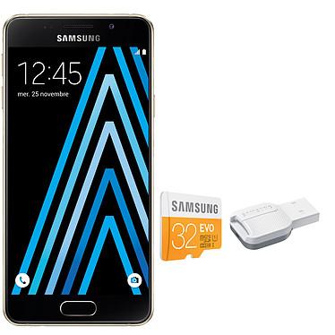 "Samsung Galaxy A3 2016 Or + microSDHC 32 Go Smartphone 4G-LTE - Snapdragon 410 Quad-Core 1.5 Ghz - RAM 1.5 Go - Ecran tactile 4.7"" 720 x 1280 - 16 Go - NFC/Bluetooth 4.1 - 2300 mAh - Android 5.1 + Carte mémoire microSDHC avec adaptateur USB"