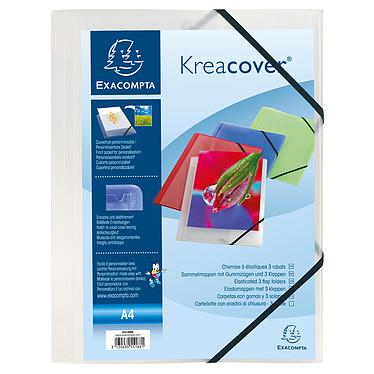 Exacompta Chemise à élastiques 3 rabats Krea Cover Transparent Chemise à élastiques 3 rabats format A4 en PP 5/10eme Blanc Transparent