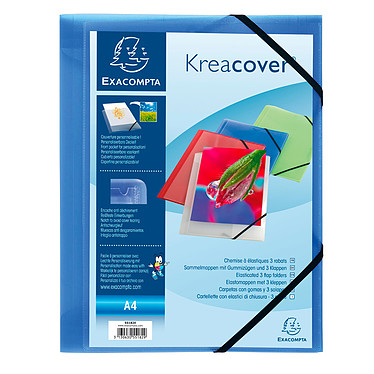 Exacompta Chemise à élastiques 3 rabats Krea Cover Bleu