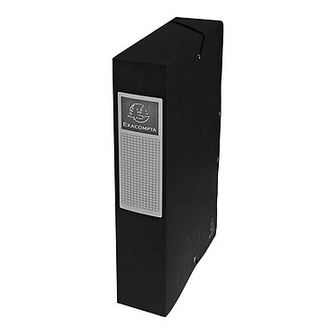 Exacompta Exabox cajas de archivo 60 mm Negro x 8 Set de 8 archivadores con dorso de 60 mm en cartón brillo 600 g 24x32 cm Negro