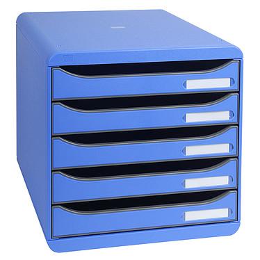 Exacompta Big-Box Plus Bleu glacé Bloc de classement 5 tiroirs A4+ ouverts bleu