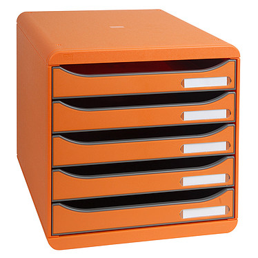 Exacompta Big-Box Plus Tangerine Bloc de classement 5 tiroirs A4+ ouverts tangerine