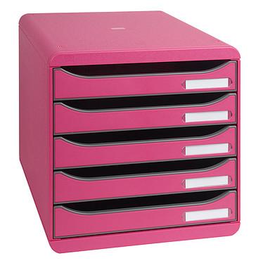 Exacompta Big-Box Plus Framboise Bloc de classement 5 tiroirs A4+ ouverts framboise