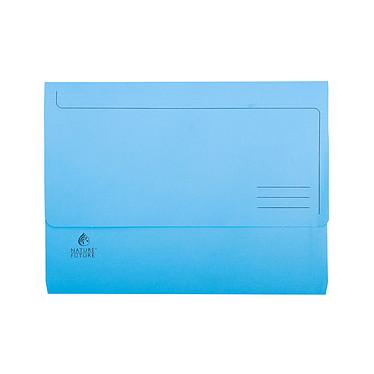 Exacompta Chemises à poche Jura 220g Bleu x 10 Lot de 10 chemises à poche papier avec rabat et dos 30 mm format A4+ Bleu