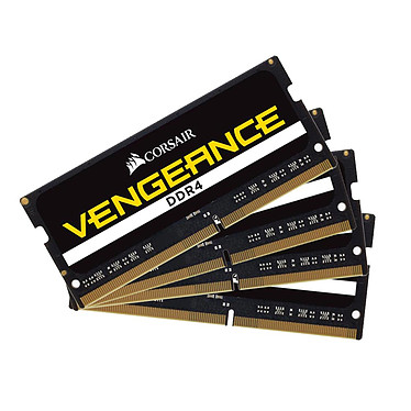 Corsair Vengeance SO-DIMM DDR4 64 Go (4 x 16 Go) 2400 MHz CL16 Kit Quad Channel RAM DDR4 PC4-19200 - CMSX64GX4M4A2400C16 (garantie 10 ans par Corsair)