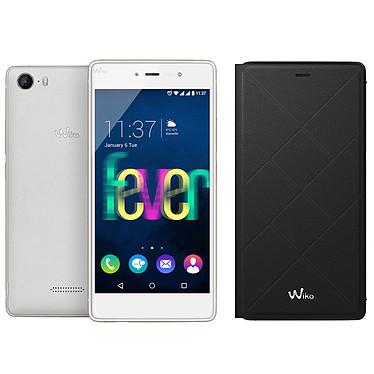 "Wiko Fever 4G Blanc/Or + Etui Folio Jetlines pour 1€ de plus Smartphone 4G-LTE Dual SIM - ARM Cortex A-53 8-Core 1.3 GHz - RAM 3 Go - Ecran tactile 5.2"" 1080 x 1920 - 16 Go - Bluetooth 4.0 - 2900 mAh - Android 5.1 + Etui folio pour 1€ de plus"