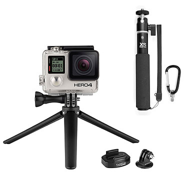 GoPro HERO 4 : Black Edition + U-Shot + Tripod Mount + Mini Tripod Caméra sportive 4K Ultra HD à mémoire flash avec Wi-Fi et Bluetooth + Perche extensible + Fixation pour trépied avec mini trépied
