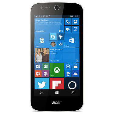 "Acer Liquid M330 Blanc Smartphone 4G-LTE Snapdragon 210 Quad-Core 1.1 GHz - RAM 1 Go - Ecran tactile 4.5"" 480 x 854 - 8 Go - Bluetooth 4.0 - 2000 mAh - Windows 10"