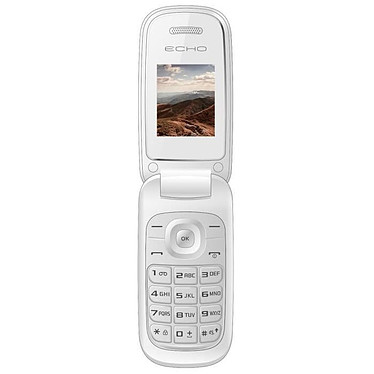 "Echo Clap Blanc Téléphone 2G Dual SIM - RAM 32 Mo - Ecran 1.77"" - 64 Mo - Bluetooth 2.0 - 600 mAh"