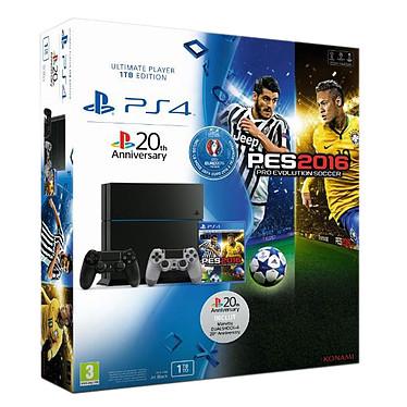 Sony PlayStation 4 (1 To) + PES Euro 2016 (Pro Evolution Soccer) + 2ème DualShock 4 Console de jeux-vidéo nouvelle génération avec disque dur 1 To + 1 jeu + 2 manettes sans fil