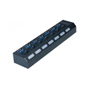 Concentrador USB 3.0 con conmutadores individuales de encendido/apagado (7 puertos)