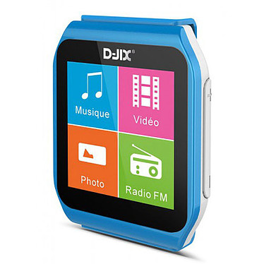 "D-Jix D-Watch 2 Turquoise 8 Go Montre Multimédia MP3 - Écran tactile 1.5"" - Radio FM - Bluetooth"