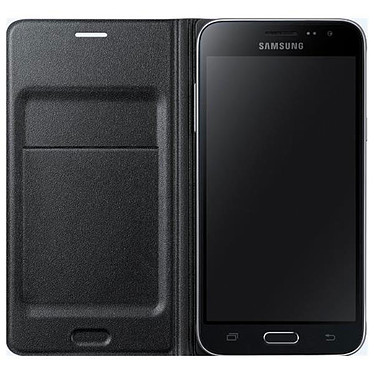 Samsung Flip Wallet Noir Samsung Galaxy J1 2016 Etui portefeuille pour Samsung Galaxy J1 2016