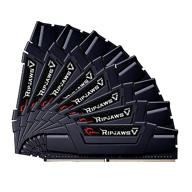 G.Skill RipJaws 5 Series Noir 64 Go (8x 8 Go) DDR4 3200 MHz CL14 Kit Quad Channel 8 barrettes de RAM DDR4 PC4-25600 - F4-3200C14Q2-64GVK