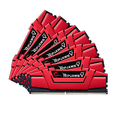 G.Skill RipJaws 5 Series Rouge 64 Go (8x8 Go) DDR4 3200 MHz CL16 Kit Quad Channel 8 barrettes de RAM DDR4 PC4-25600 - F4-3200C16Q2-64GVR (garantie 10 ans par G.Skill)