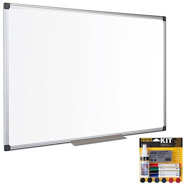 Bi-Office Tableau blanc émaillé 180 x 90 cm + Bi-Office Kit magnétique Tableau blanc en acier magnétique effaçable + Lot de 4 marqueurs assortis, 6 aimants, 1 effaceur magnétique et 1 spray de nettoyage