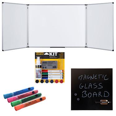 Bi-Office Triptyque 120 x 200/400 cm+ Kit magnétique et marqueurs + Tableau Mémo Tableau blanc triptyque émaillé 5 faces + Tableau noir magnétique en verre trempé effaçable 48 x 48 cm + marqueurs et kit