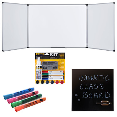 Bi-Office Triptyque 90 x 120/240 cm + Kit magnétique et marqueurs + Tableau Mémo Tableau blanc triptyque émaillé 5 faces + Tableau noir magnétique en verre trempé effaçable 48 x 48 cm + marqueurs et kit