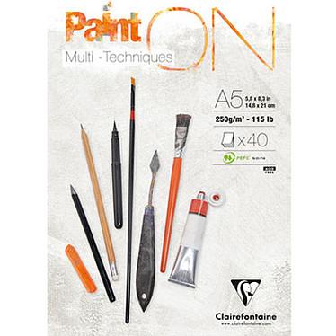 Clairefontaine Bloc Paint'On A5 encollé 40 feuilles 250g Bloc à dessin encollé 148 x 210 mm 40 feuilles grammage 250 grammes