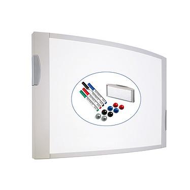 Maul MAULconvex Tableau blanc émaillé 120 x 90 cm Tableau blanc émaillé magnétique 120 x 90 cm avec 4 marqueurs, 1 brosse aimantée et 8 aimants