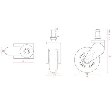 Acheter AKRacing Rollerblade Casters (rouge)