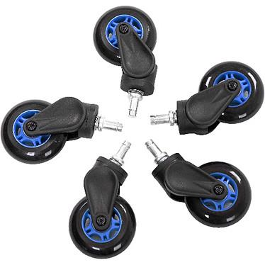 AKRacing Rollerblade Casters (azul) Juego de 5 ruedas de goma compatibles con alfombra y parquet para el asiento AKRacing