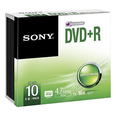 Sony DVD+R 4.7 Go 16x (par 10, boitier slim) Pack de 10 DVD+R 4.7Go diamètre 120 mm au format boitier slim
