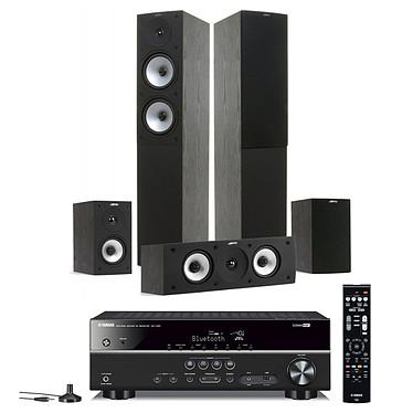 Yamaha RX-V381 Noir + Jamo S 526 HCS Black Ash Ampli-tuner Home Cinéma 5.1 3D avec HDMI 2.0, HDCP 2.2, Ultra HD 4K et Bluetooth + Pack d'enceintes 5.0
