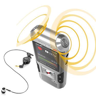 Philips DVT4000 + LFH9162 Dictaphone numérique 4 Go avec deux microphones et slot MicroSD et batterie intégrée + Micro pour téléphone