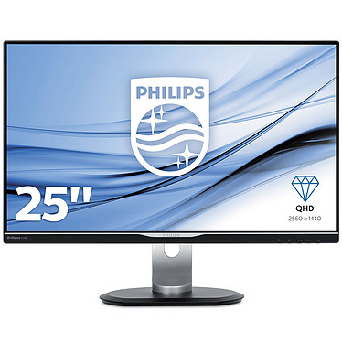 "Philips 25"" LED - 258B6QJEB 2560 x 1440 pixels - 5 ms (gris à gris) - Format large 16/9 - Dalle IPS - DisplayPort - HDMI - Hub USB - Noir/Argent"