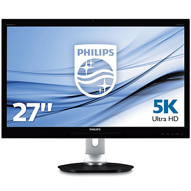 "Philips 27"" LED - 275P4VYKEB 5120 x 2880 pixels - 8 ms (gris à gris) - Format large 16/9 - Dalle PLS - DisplayPort - HDMI - Hub USB 3.0 - Webcam - Noir/Argent"
