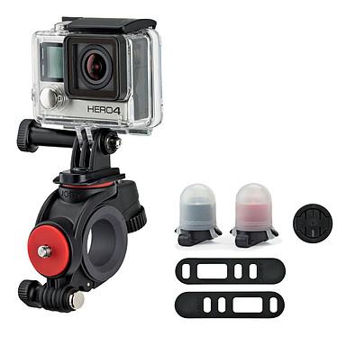 Joby Action Bike Mount & Light Pack Fixation guidon tout-en-un pour caméras sportives GoPro, Contour ou Sony Action Cam avec lampes de visibilité