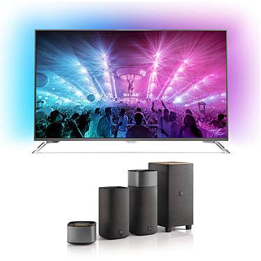 """Philips 55PUS7101 + Philips Fidelio E5 Téléviseur LED 4K 55"""" (140 cm) 16/9 - 3840 x 2160 pixels - TNT, Câble et Satellite HD - Wi-Fi - Android - 2000 Hz + Ensemble home cinéma sans fil 4.1 Dolby Digital/Pro Logic II avec Bluetooth/NFC"""
