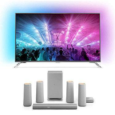 "Philips 55PUS7101 + CSS5530G Téléviseur LED 4K 55"" (140 cm) 16/9 - 3840 x 2160 pixels - TNT, Câble et Satellite HD - Wi-Fi - Android - 2000 Hz + Ensemble home cinéma sans fil 5.1 Dolby Digital/Pro Logic II avec Bluetooth/NFC"