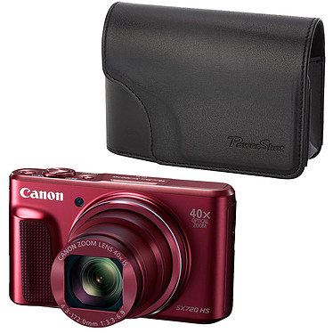 "Canon PowerShot SX720 HS Rouge + DCC-1570 Appareil photo 20.3 MP - Zoom ultra grand-angle 40x - Vidéo Full HD - HDMI - Ecran LCD 3"" - Wi-Fi et NFC + Etui de protection"
