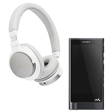 Sony NW-ZX2 + Audio-Technica ATH-SR5 Blanc Lecteur High-Res Audio haute résolution 128 Go sous Android 4.2 avec écran tactile Wi-Fi Bluetooth et NFC + Casque circum-auriculaire fermé avec télécommande et micro - Hi-Res Audio