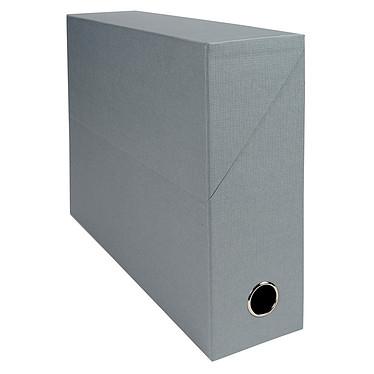 Exacompta Boite de transfert en papier toilé dos 90 mm Gris Boîte de transfert 34 x 25.5 cm avec dos 9 cm pour documents A4/24 x 32 cm
