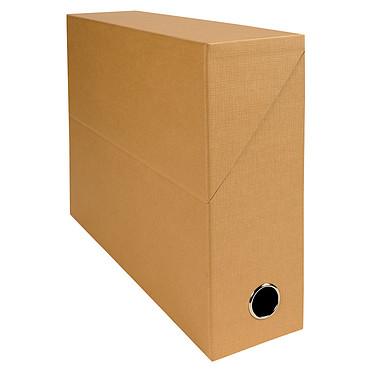 Exacompta Boite de transfert en papier toilé dos 90 mm Havane Boîte de transfert 34 x 25.5 cm avec dos 9 cm pour documents A4/24 x 32 cm