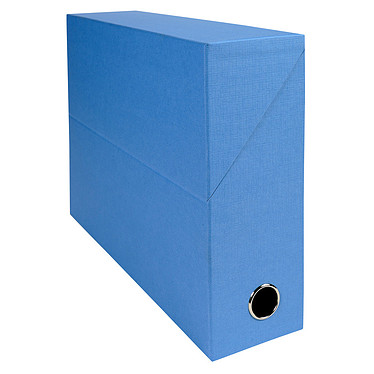 Exacompta Boite de transfert en papier toilé dos 90 mm Bleu clair Boîte de transfert 34 x 25.5 cm avec dos 9 cm pour documents A4/24 x 32 cm