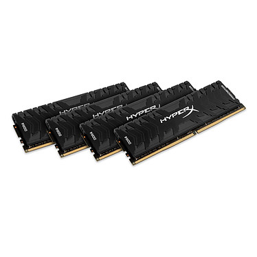 HyperX Predator Noir 16 Go (4x 4 Go) DDR4 3200 MHz CL16 Kit Quad Channel 4 barrettes de RAM DDR4 PC4-25600 - HX432C16PB3K4/16 (garantie 10 ans par Kingston)