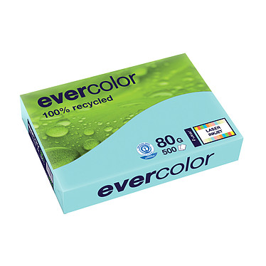 Clairefontaine Evercolor Ramette de papier 500 feuilles A4 80g Bleu Ramette de papier couleur recyclé 500 feuilles A4 80g Bleu clair 40006C