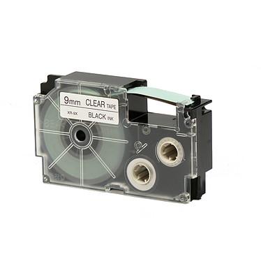 Casio XR-9X1 Cinta negra de 9 mm x 8 m sobre transparente para etiquetadoras KL-60, KL-120, KL-130, KL-820, KL-7400, KL-G2, KL-HD1