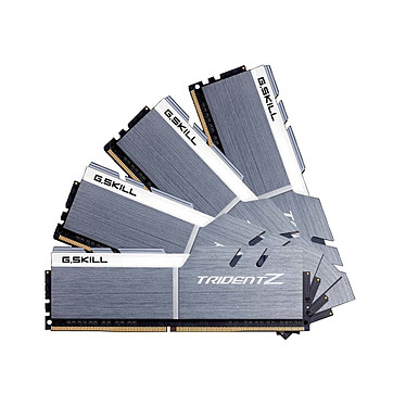 G.Skill Trident Z 32 Go (4x 8 Go) DDR4 3300 MHz CL16 Quad Channel Kit 4 tiras de RAM DDR4 PC4-26400 - F4-3300C16QQ-32GTZSW - Blanco y plateado (10 años de garantía de G. Skill)